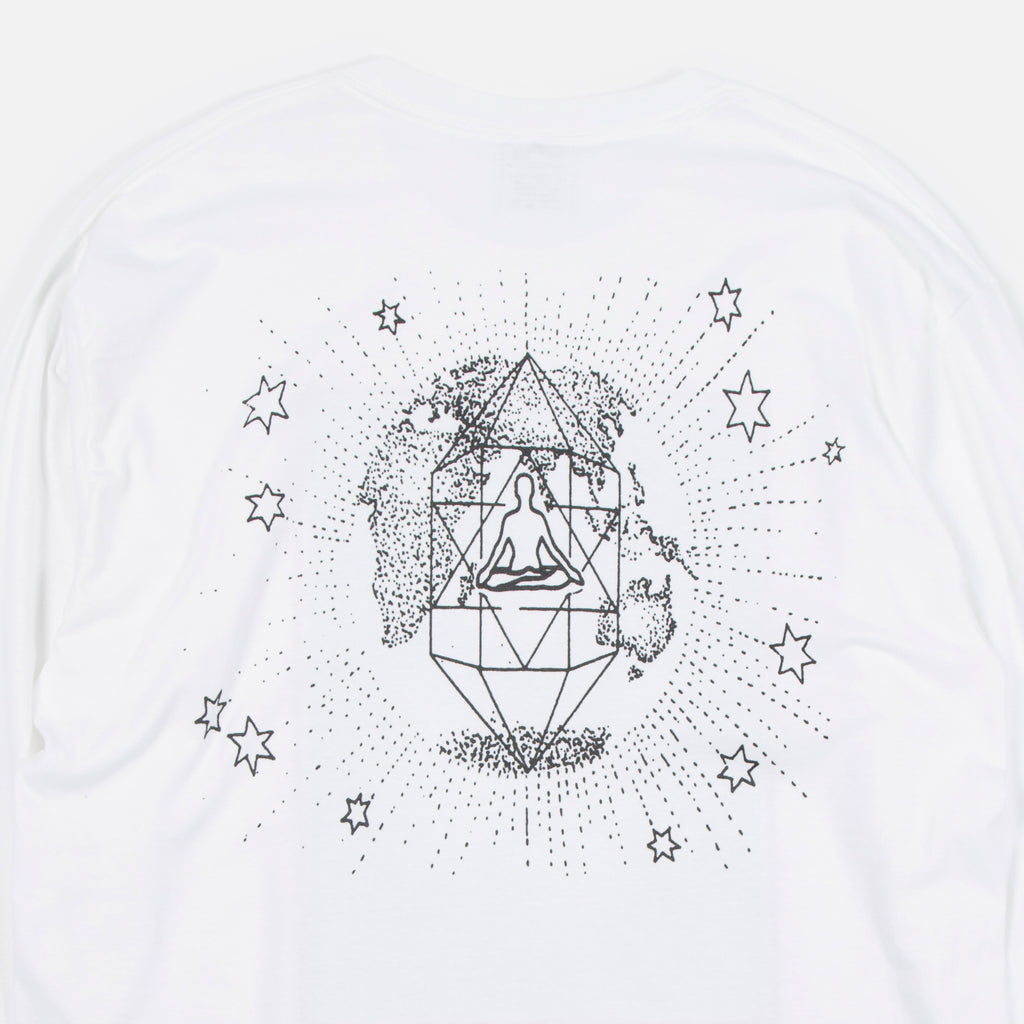 Good Morning Tapes Cosmic Crystal Longsleeve T-shirt in White Blues Store www.bluesstore.co