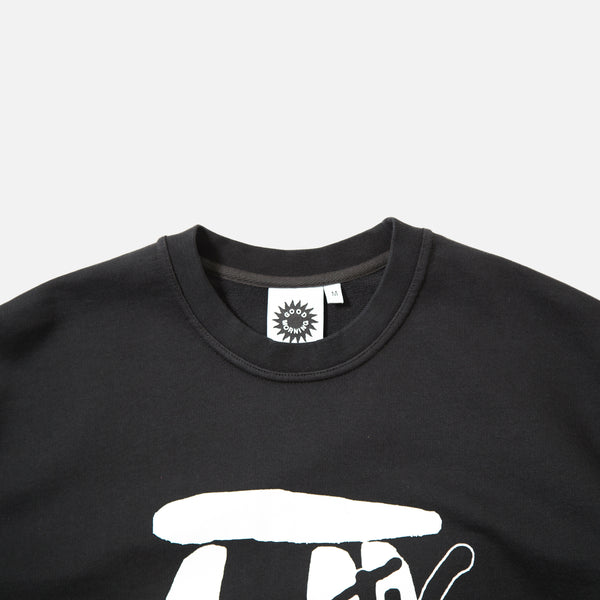 Megalithic Crew Neck Sweatshirt in Black Good Morning Tapes blues store www.bluesstore.co