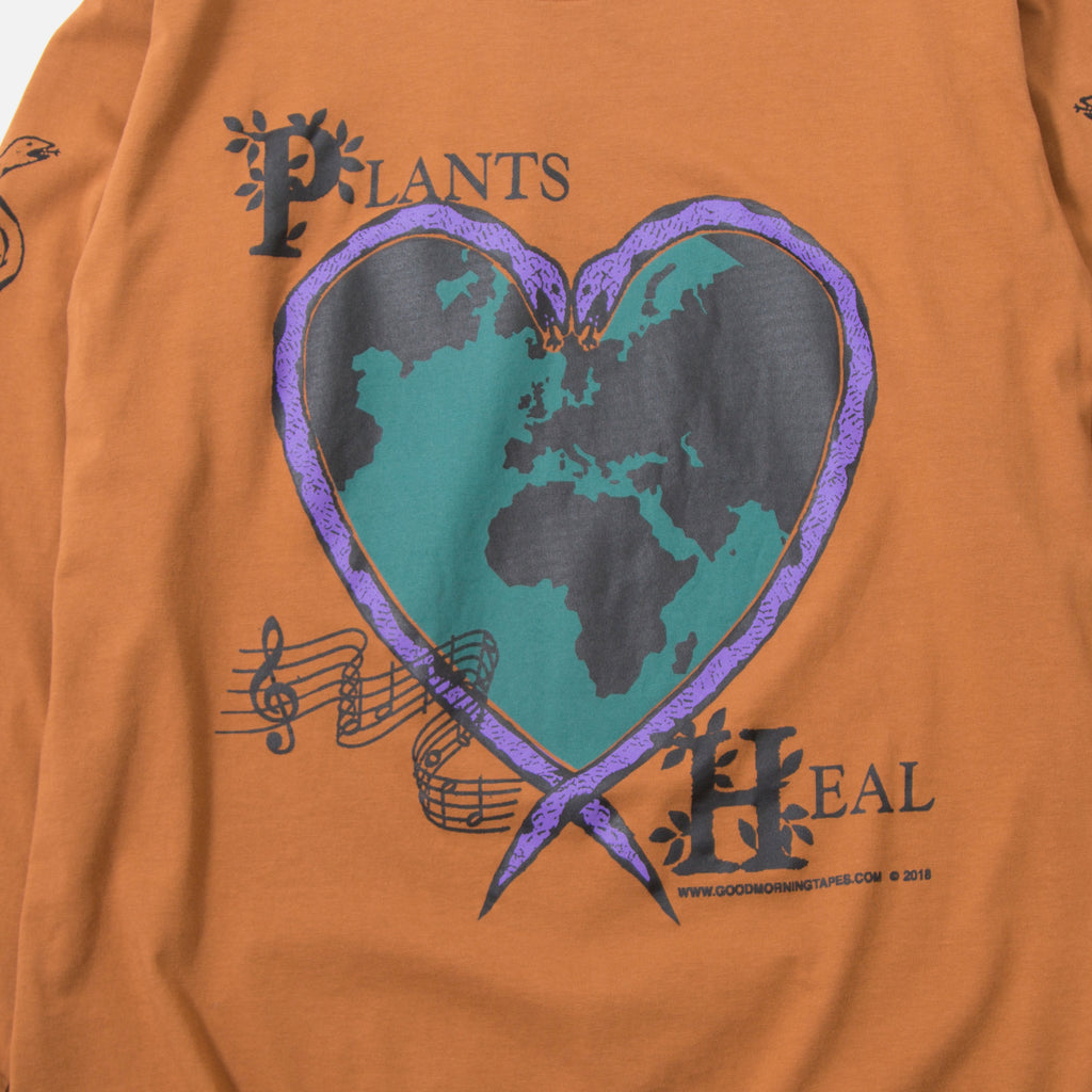 Plants Heal LS T-shirt in Clay from Good Morning Tapes blues store www.bluesstore.co