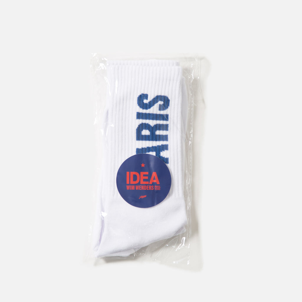 Paris, Texas socks in white from IDEA books blues store www.bluesstore.co