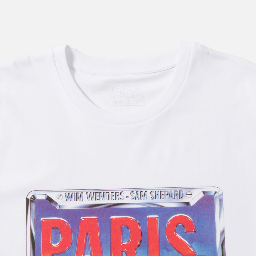 Wim Wenders Paris Texas Licence Plate t-shirt in white from IDEA books blues store www.bluesstore.co