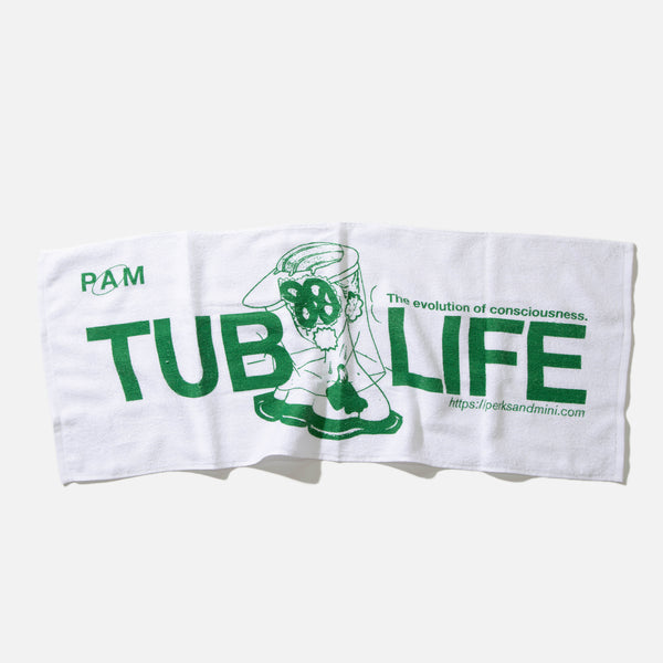 Tub Life Onsen Towel in white from the P.A.M. (Perks and Mini) Spring / Summer 2021 collection.  Very comfy cotton mix blend socks blues store www.bluesstore.co