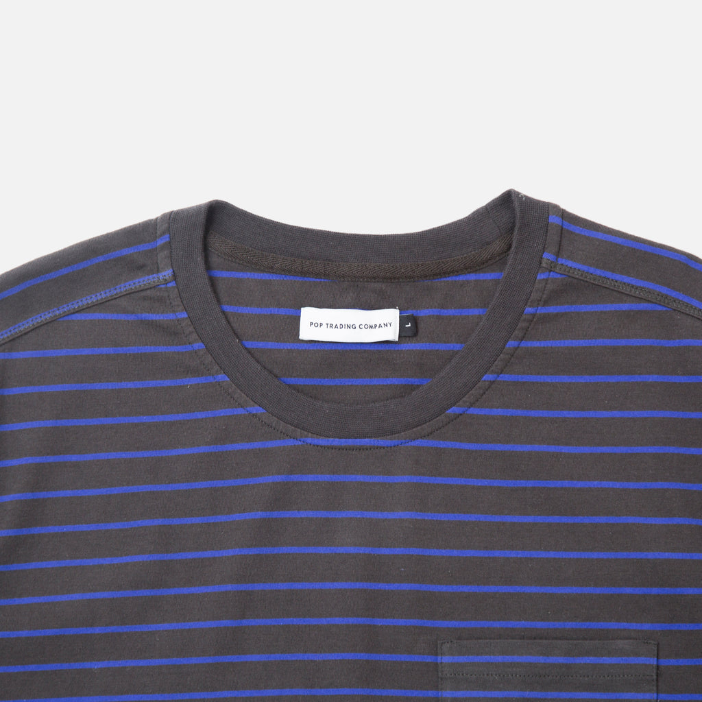 Pop Trading Company Pop Casper Stripe T-shirt in anthracite / grape Blues Store