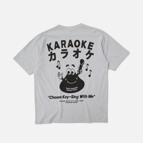 Public Possession Karaoke Button T-shirt Heather Grey Blues Store