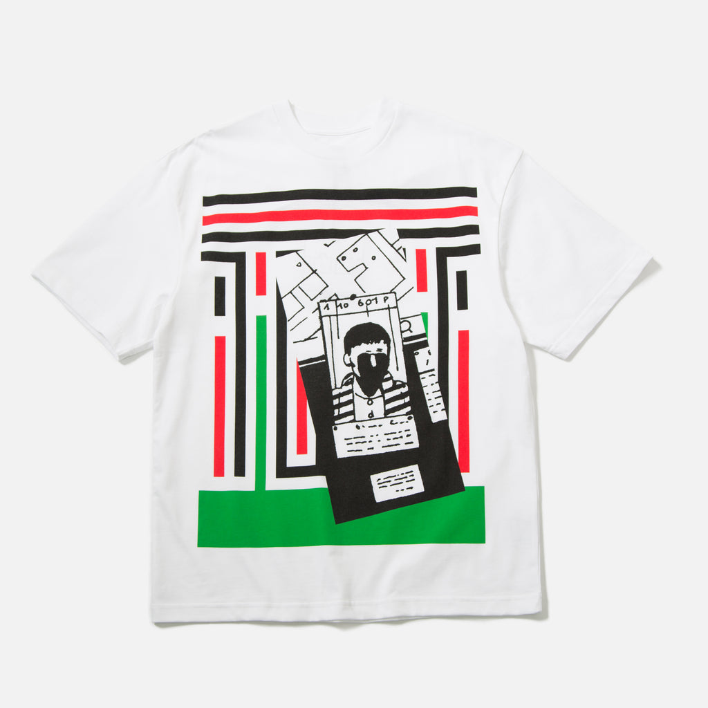 Stripes Strip T-Shirt in White from The Trilogy Tapes spring 2020 collection blues store www.bluesstore.co