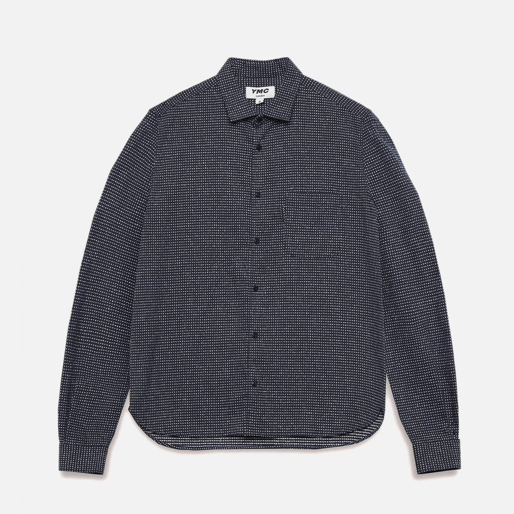 Curtis Cotton Sashiko Stitch Shirt in Navy from the YMC spring / summer 2021 collection blues store www.bluesstore.co