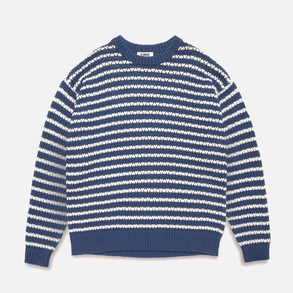 Dawg Oversized Cotton Cashmere Crew Neck Crochet Stripe Jumper in Blue and Ecru from the YMC spring / summer 2021 collection blues store www.bluesstore.co