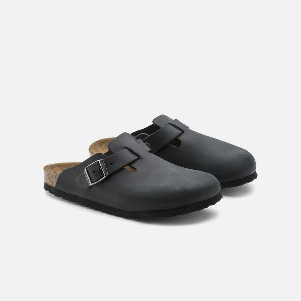 Boston Oiled Leather in Black from Birkenstock blues store www.bluesstore.co