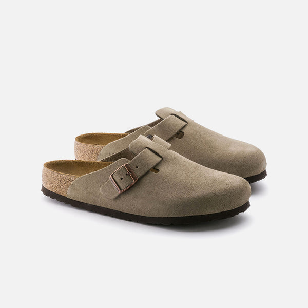 Boston Soft Footbed in Taupe Suede from Birkenstock blues store www.bluesstore.co
