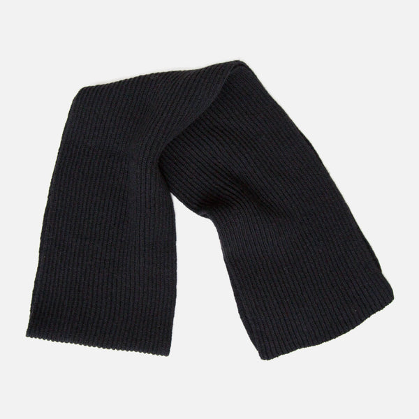 Cable Knit Lambswool Scarf - Black