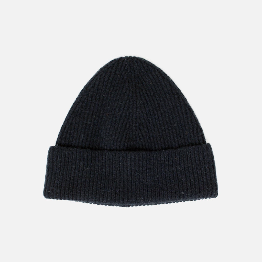 Lambswool Fine Ribbed Knit Beanie - Black