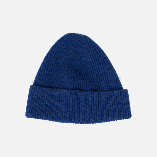 Lambswool Fine Ribbed Knit Beanie - Navy