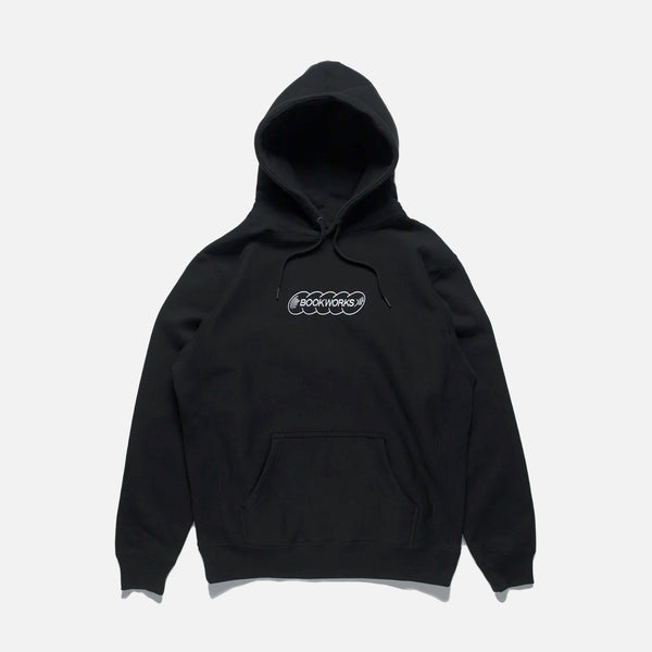 Embroidered Record Logo Hoodie in Black from Book Works Fall 2020 collection blues store www.bluesstore.co