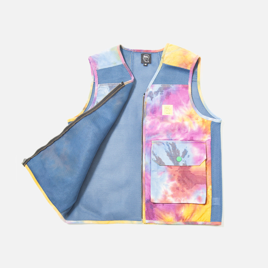 Dyed Canvas Spacer Mesh Tactical Vest in Tie Dye from Brain Dead blues store www.bluesstore.co