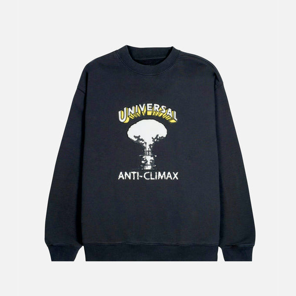 Brain Dead Universal Anti-Climax Crewneck Sweatshirt in Black blues store www.bluesstore.co
