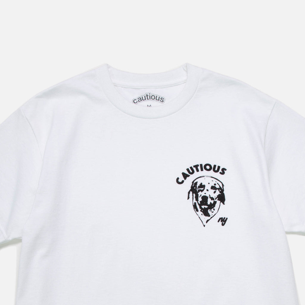 Dalmatian t-shirt in white from New York based Cautious blues store www.bluesstore.co