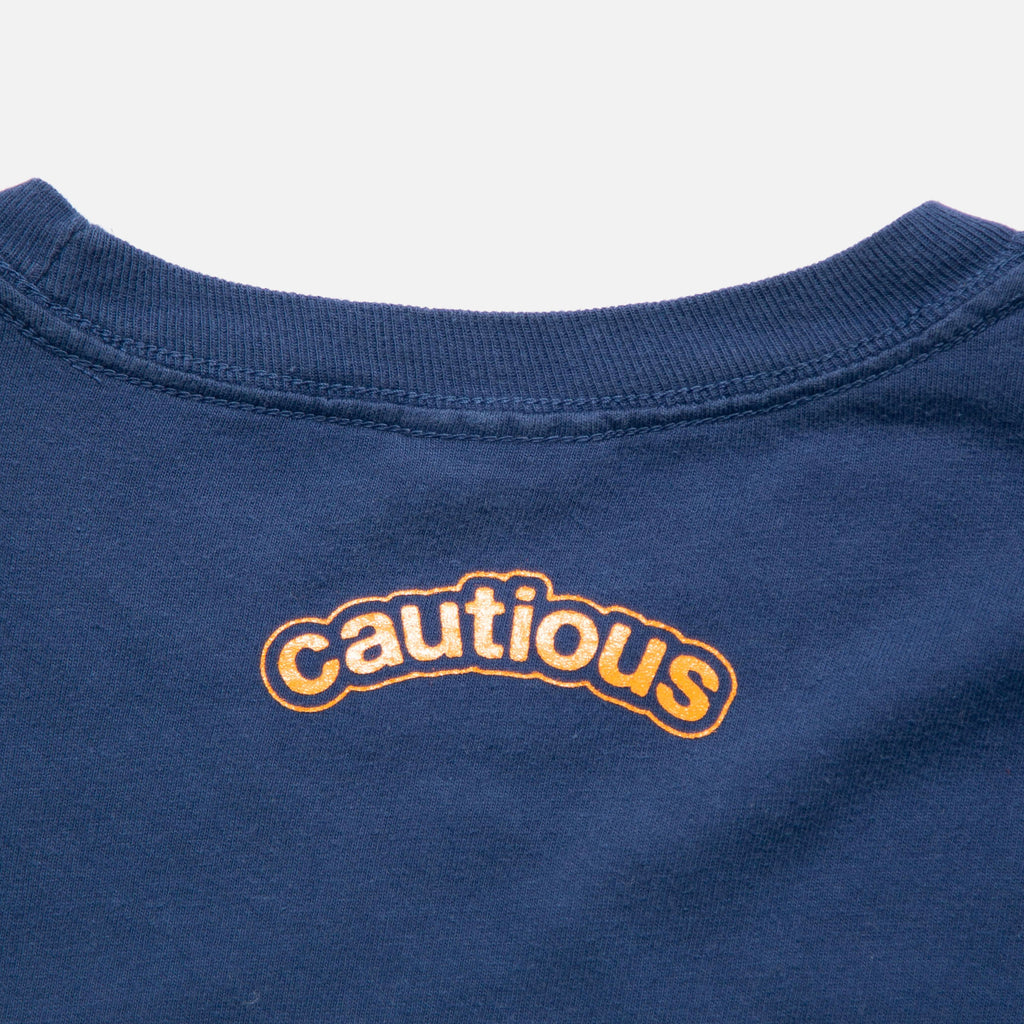 Footprint Longsleeve T-shirt in Navy from New York based Cautious blues store www.bluesstore.co