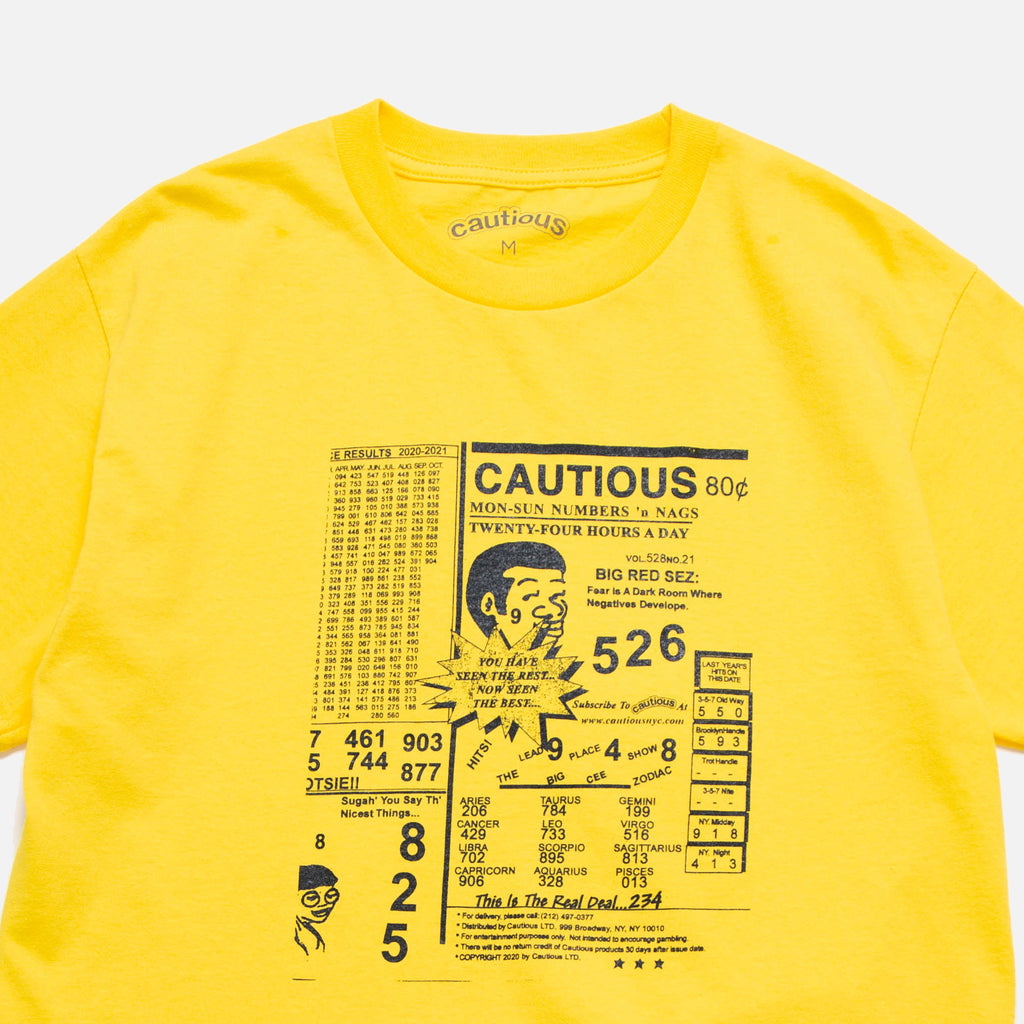 Numbers t-shirt in yellow from New York based Cautious blues store www.bluesstore.co