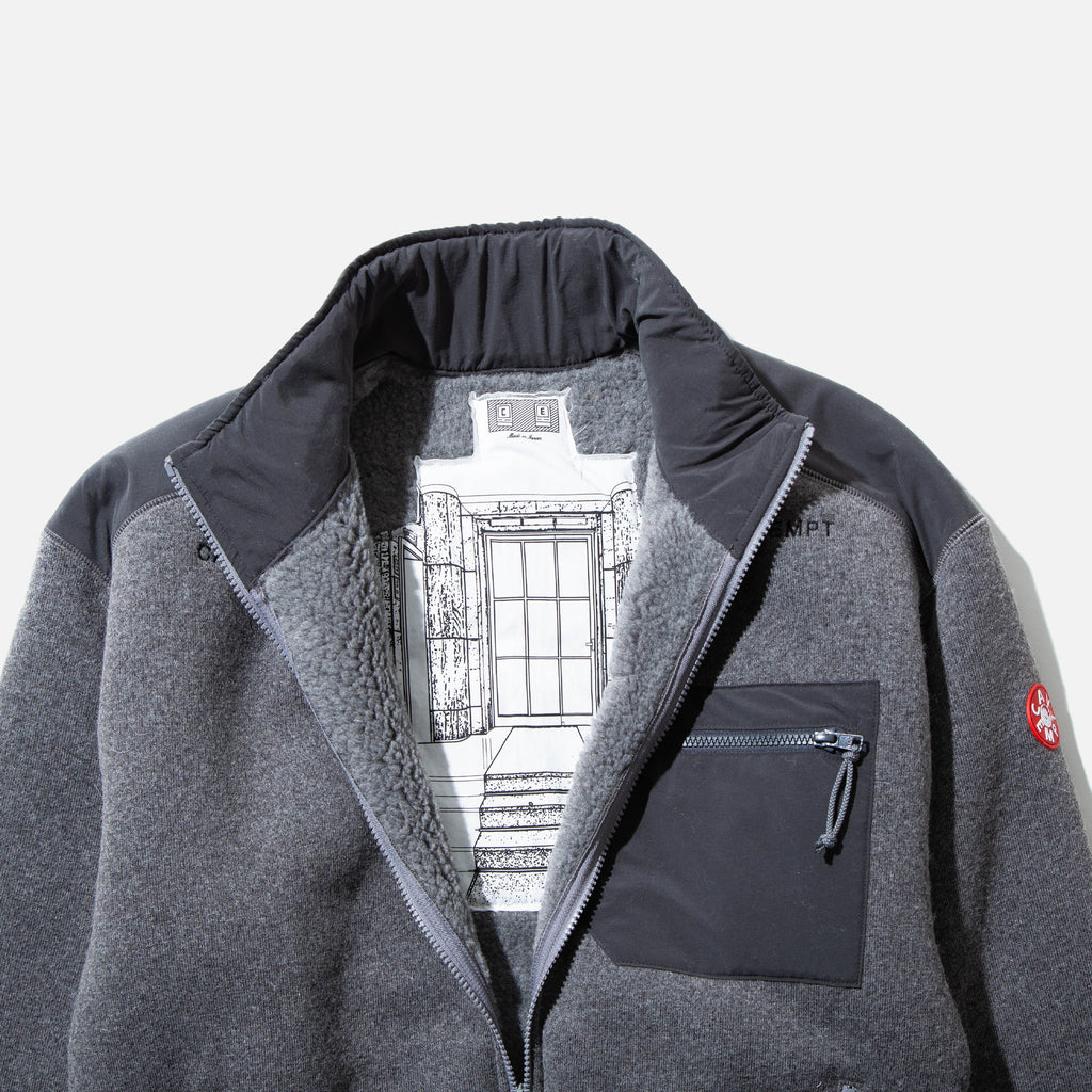 Furry Back Fleece Zip Up in Grey from Cav Empt blues store www.bluesstore.co