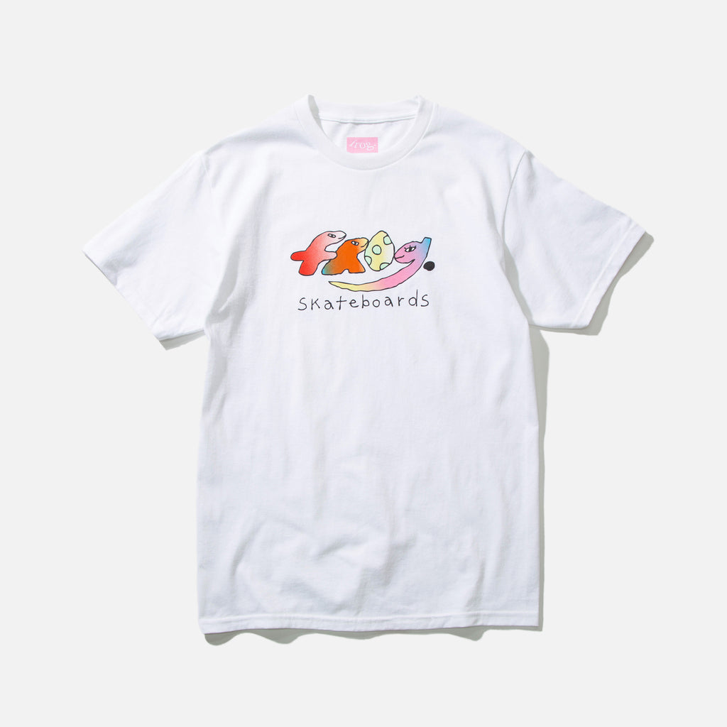 Dino Logo T-shirt in White from Frog Skateboards blues store www.bluesstore.co