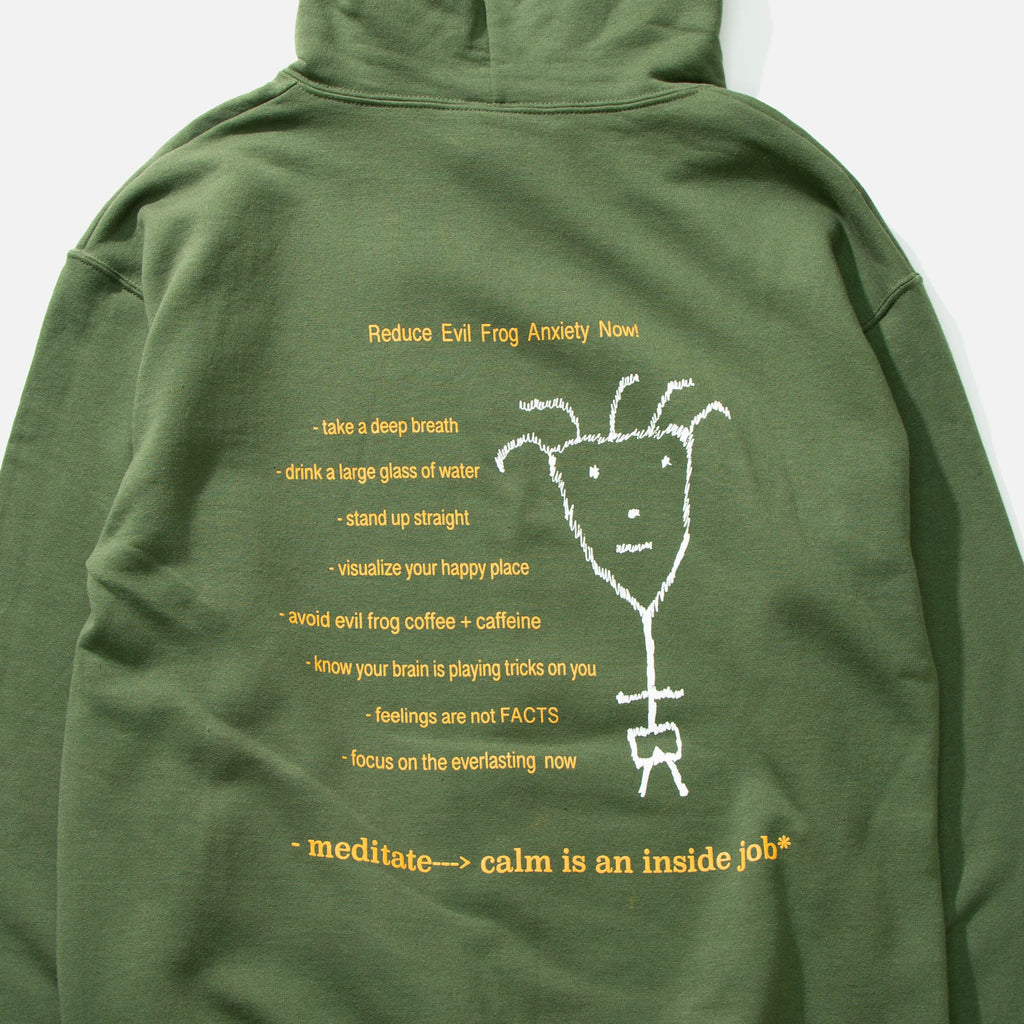 Evil Anxiety Hoodie in Olive Green from Frog Skateboards blues store www.bluesstore.co