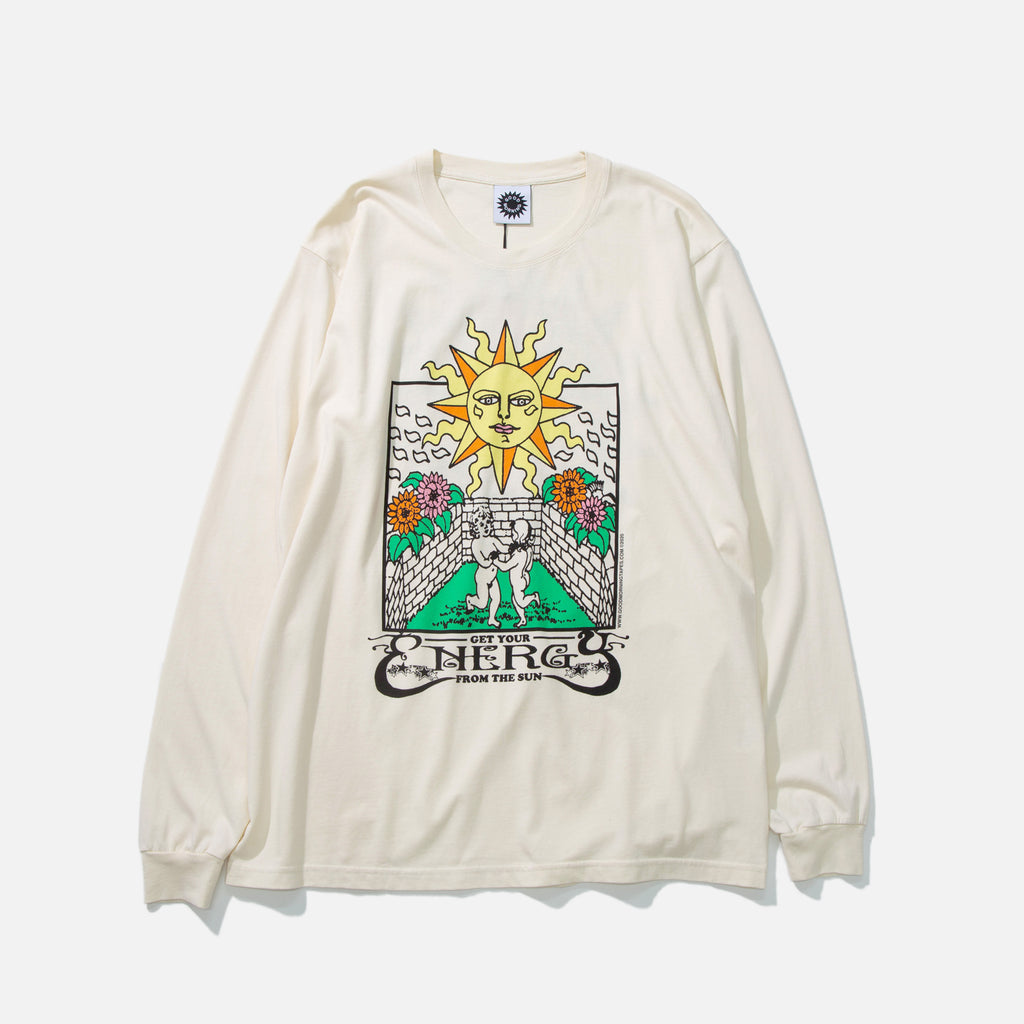 Energy from the Sun Long Sleeve T-shirt in Natural from Good Morning Tapes blues store www.bluesstore.co