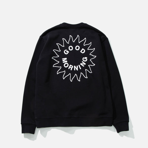 Sun Logo Crewneck Sweatshirt in Black from Good Morning Tapes blues store www.bluesstore.co
