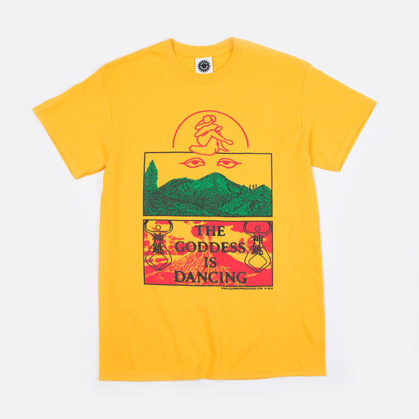 The Goddess is Dancing T-shirt in Gold from Good Morning Tapes www.bluesstore.co