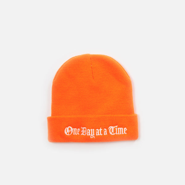 One Day at a Time Beanie - Safety Orange