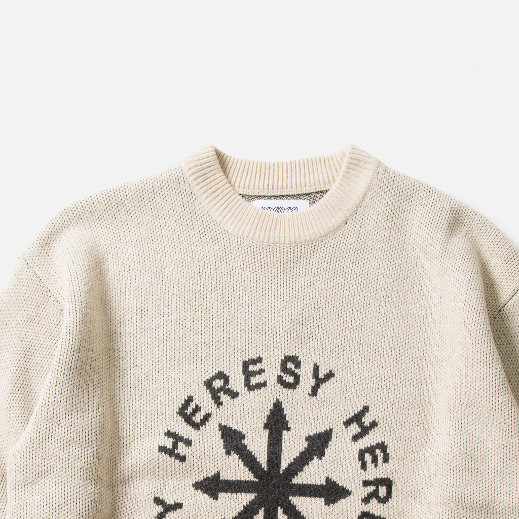 Chaos knitted pullover in natural from the Heresy Autumn 2020 collection blues store www.bluesstore.co