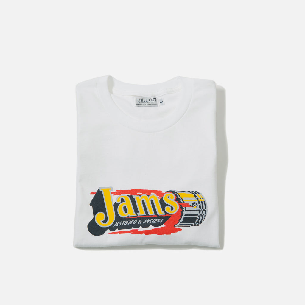 Jams Piston T-shirt in white from the Chill Out Relaxing Clothing blues store www.bluesstore.co