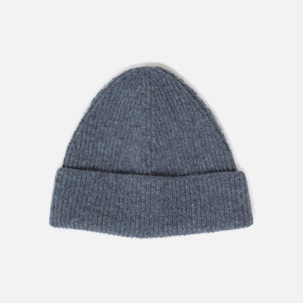 Lambswool Fine Ribbed Knit Beanie - Grey