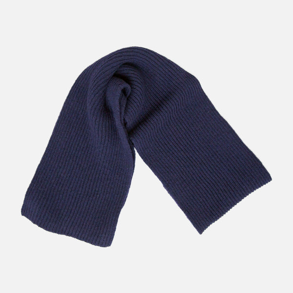 Cable Knit Lambswool Scarf - Navy