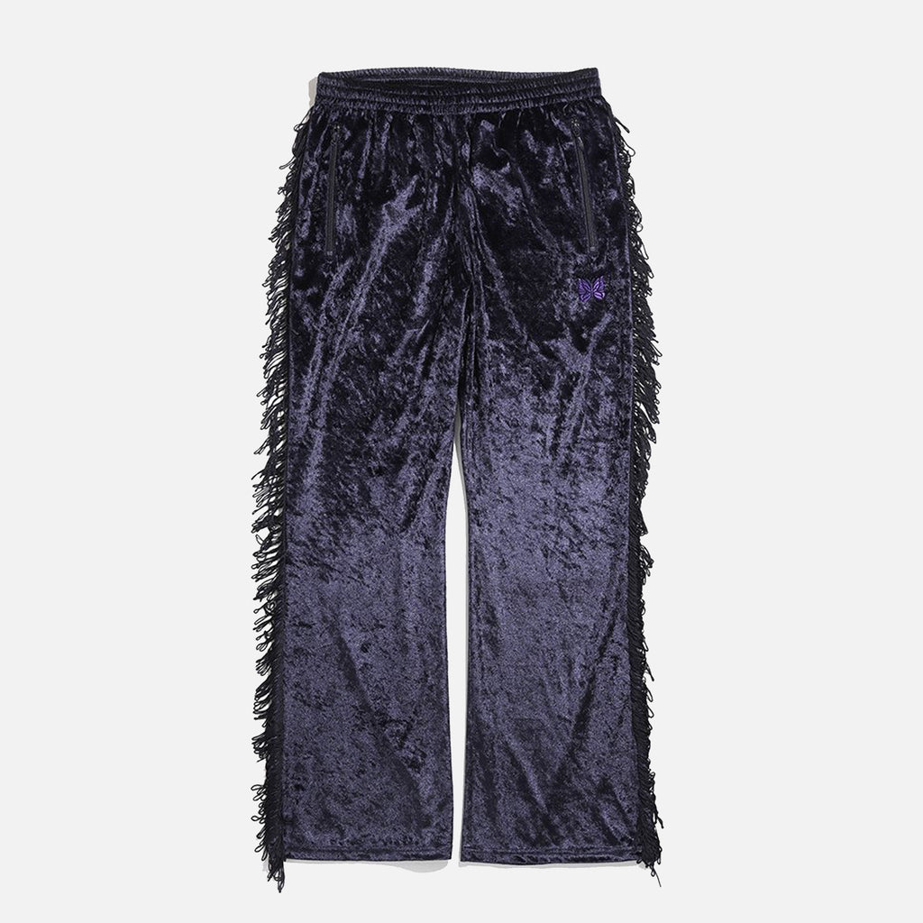 Fringe Boot-Cut Track Pant in a navy Crush Velour from Needles Spring / Summer collection blues store www.bluesstore.co