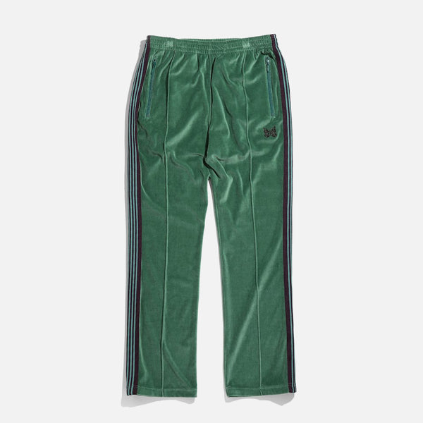 Narrow Track Pant in Green C/Pe Velour from Needles Spring / Summer 2021 collection blues store www.bluesstore.co