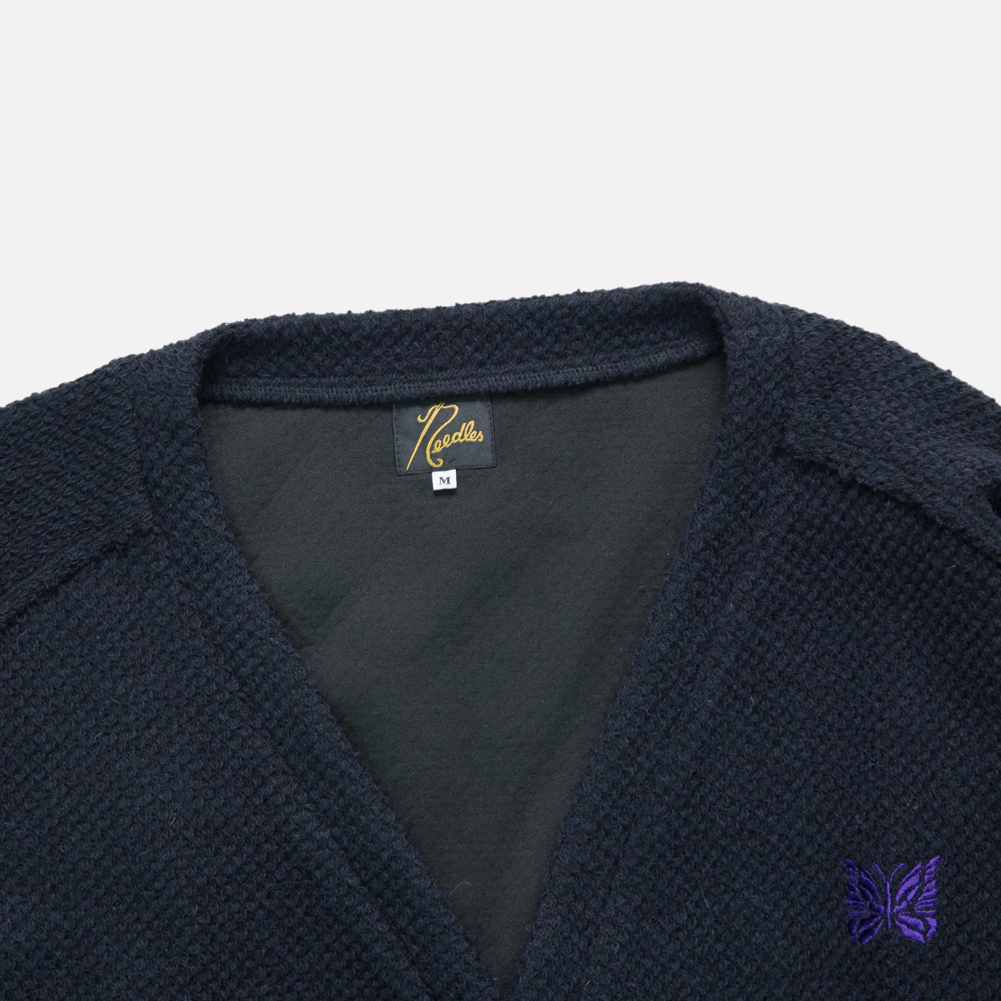 V Neck Pique Knit Cardigan in Navy | Blues Store