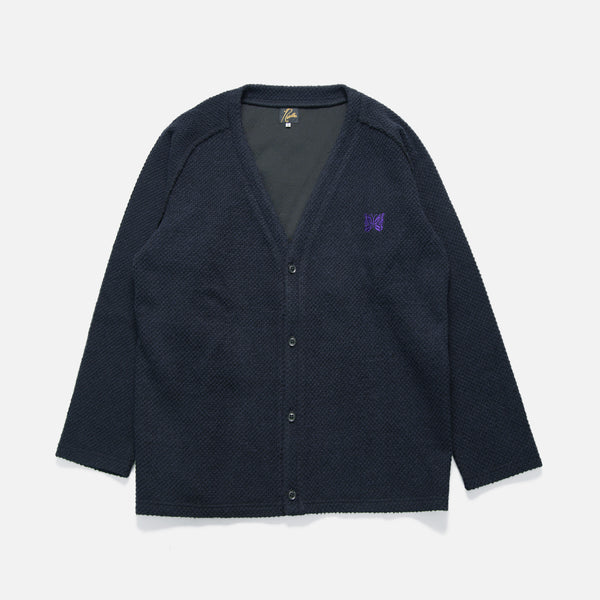 V Neck Pique Knit Cardigan in Navy from Needles Autumn / Winter 2020 collection blues store www.bluesstore.co