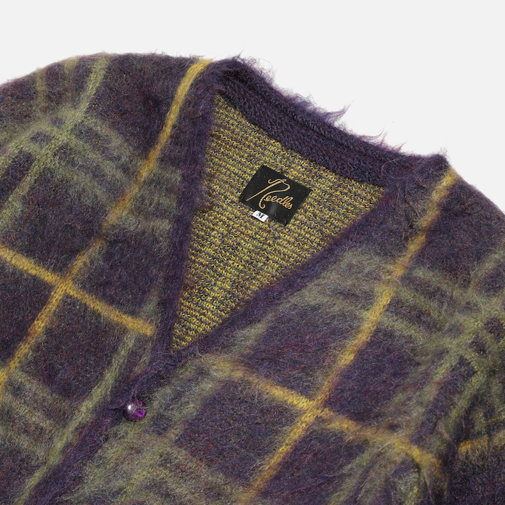 V Neck Mohair Cardigan with plum plaid pattern from Needles Autumn / Winter 2020 collection blues store www.bluesstore.co