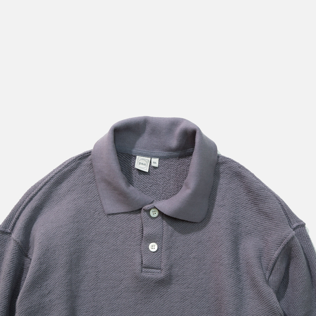 Longsleeve Polo Sweatshirt in Smoke Grey Pique Terry from Paa blues store www.bluesstore.co
