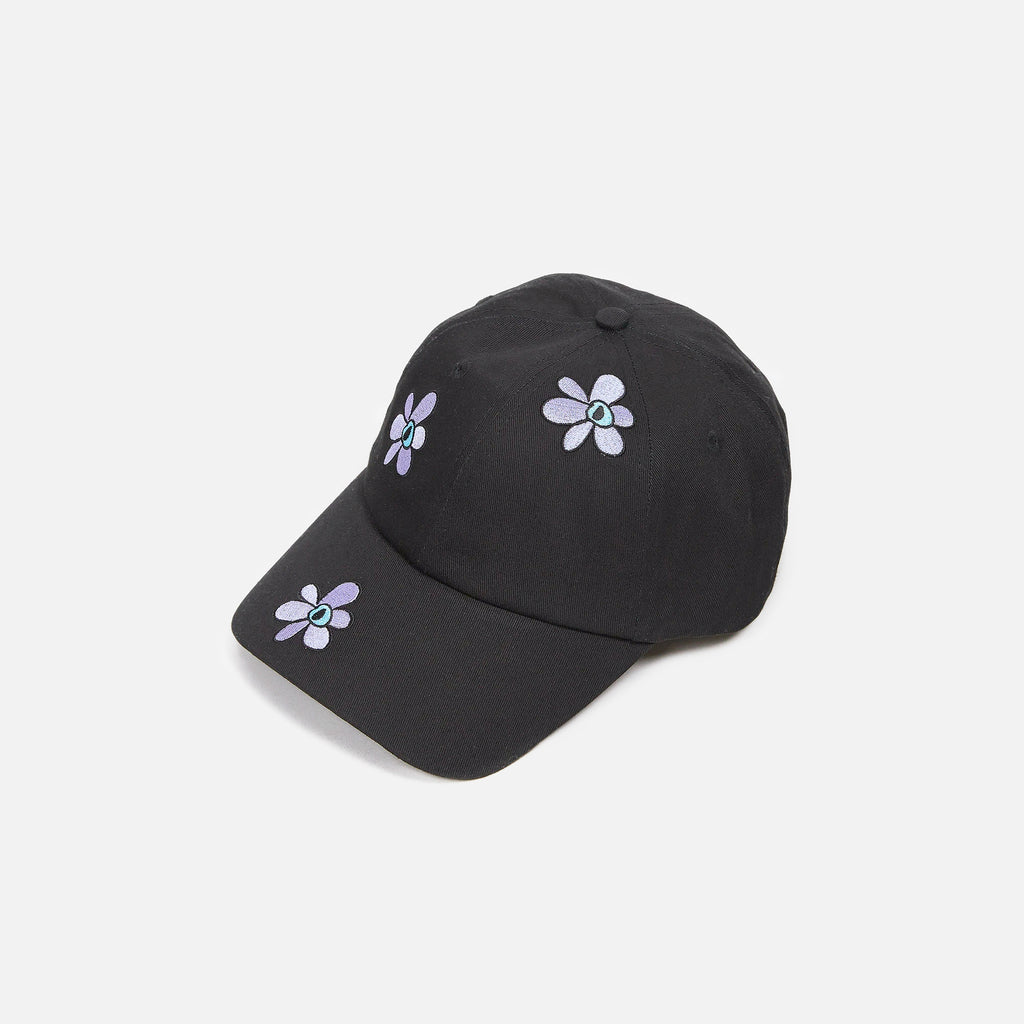 Fields of Gest Cap in Black with sporadic embroidered flowers from the P.A.M. (Perks and Mini) Autumn 2020 collection blues store www.bluesstore.co