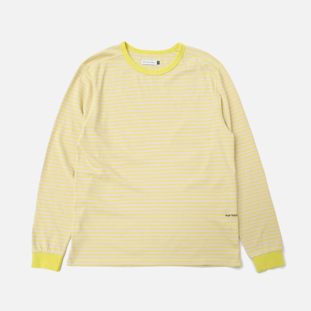 pop trading company Blaine Striped Longsleeve T-shirt Electric Yellow White blues store