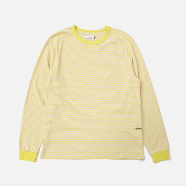 b52c4bd14f3681 ... pop trading company Blaine Striped Longsleeve T-shirt Electric Yellow  White blues store