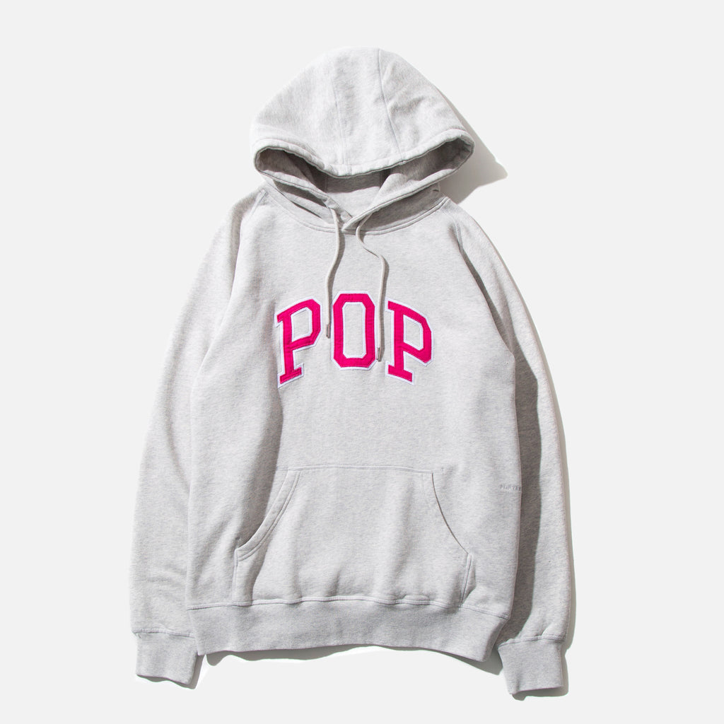 Arch Hooded Sweat in Off White Heather from Pop Trading Company blues store www.bluesstore.co