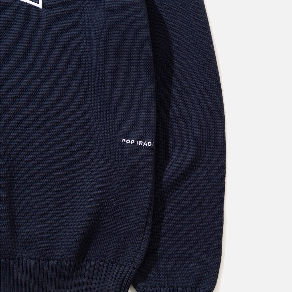 Pop Arch Knitted Crewneck in Navy from Pop Trading Company blues store www.bluesstore.co