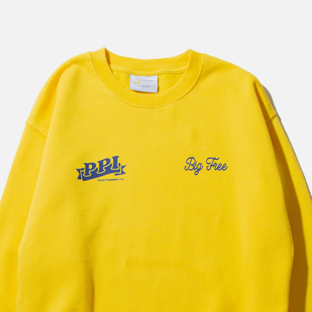 Logo Crewneck Sweatshirt in Yellow from Public Possession blues store www.bluesstore.co
