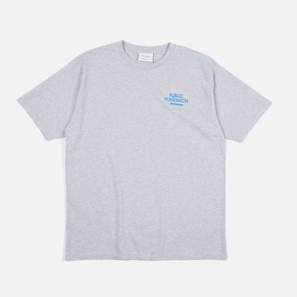 Optimismo T-shirt in Heather Grey from the Public Possession Holiday 2019 collection Blues Store www.bluesstore.co