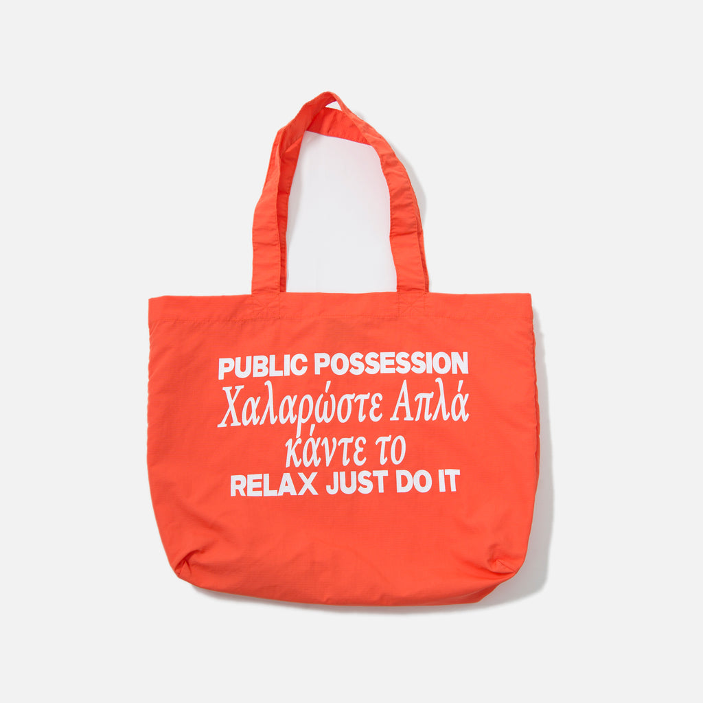PP Pillar Tote in Bright Orange from the Public Possession blues store www.bluesstore.co