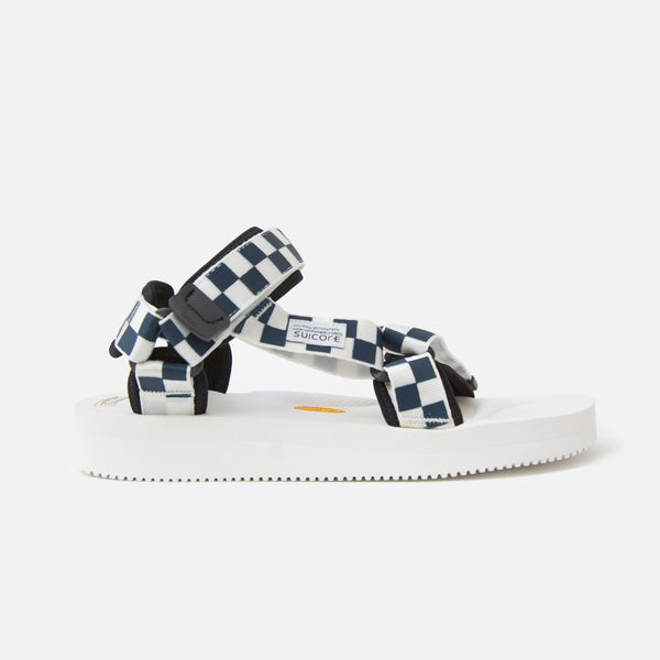 Suicoke Depa V-2 Checkerboard Sandals - White / Navy Blues Store