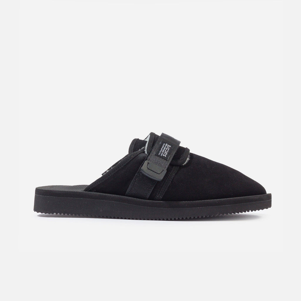 Zavo Mab closed-toe Slides in Black Suede from Suicoke blues store www.bluesstore.co