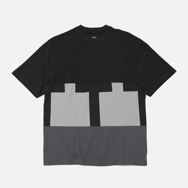 Cut & Sew T-Shirt in Black and Grey from The Trilogy Tapes Winter 2020 collection blues store www.bluesstore.co